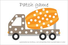 Education Patch game concrete mixer for children to develop motor skills, use plasticine patches, buttons, colored paper or color stock illustration