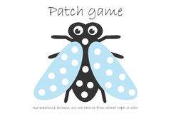 Education Patch game fly for children to develop motor skills, use plasticine patches, buttons, colored paper or color the page,. Kids preschool activity vector illustration