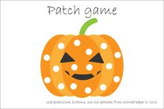 Education Patch game pumpkin for children to develop motor skills, use plasticine patches, buttons, colored paper or color the pag royalty free illustration