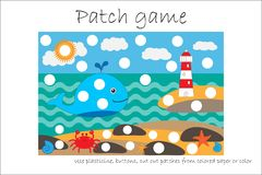 Education Patch game sea life for children to develop motor skills, use plasticine patches, buttons, colored paper or color the royalty free illustration