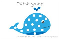 Education Patch game whale for children to develop motor skills, use plasticine patches, buttons, colored paper or color the page vector illustration