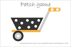 Education Patch game wheelbarrow for children to develop motor skills, use plasticine patches, buttons, colored paper or. Color page, kids preschool activity vector illustration