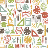 Education pattern. Seamless pattern with colorful school icons on white Royalty Free Stock Photos
