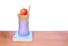 Education pencil,book and apple art on  background. Royalty Free Stock Photos
