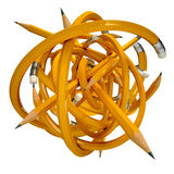 Education pencil confusing ball. Yellow pencil caught in a tangle, on a white background, 3d render Stock Photography