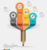 Education pencil Infographics step option. Stock Images