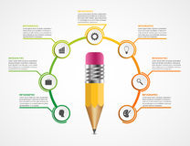 Education pencil option Infographics design template. Royalty Free Stock Photo