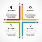 Education pencil option Infographics design template. Stock Photos