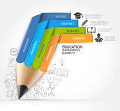 Education pencil staircase Infographics option. Stock Image