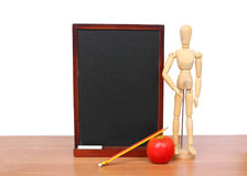 Education  pencil, teacher and apple art  on black board. Stock Images