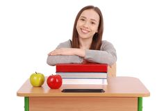 Education, people, teenager and school concept - teenager school girl Stock Images