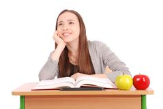 Education, people, teenager and school concept - teenager school girl Royalty Free Stock Photo