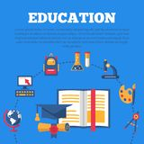 Education poster with flat colorful icons royalty free illustration