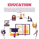 Education poster with flat colorful icons vector illustration