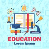 Education poster with flat colorful icons stock illustration