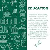 Education poster with line icons stock illustration