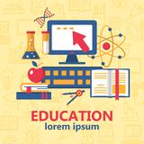 Education poster with various school supplies stock illustration