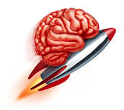 Education Power. With a flying rocket and a human brain on the projectile as a symbol of learning and studying and improving the function of the thinking mind Royalty Free Stock Photo