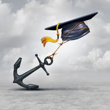 Education Problem. And learning challenge concept as a mortar cap or graduation hat being held back by a heavy anchor as a educational impairment or school loan Stock Photos