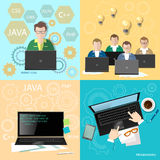 Education programmers group code development set Royalty Free Stock Photography