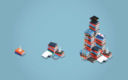 Education programs illustration. Vector isometric college education concept illustration. Heaps of books of different sizes represent different stages of Royalty Free Stock Photography