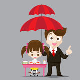 Education protect concept business man cartoon smile and umbrella. In hand with cute little girl reading a book vector illustration eps10 stock illustration