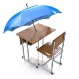 Education protection and teaching shelter for literacy and learn. Ing as a generic school desk with an umbrella as a symbol for protecting and providing security Royalty Free Stock Photography