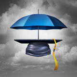 Education Protection. And teaching shelter for literacy and learning as a graduation hat or mortar cap protected by an umbrella as a symbol for guarding Royalty Free Stock Photography