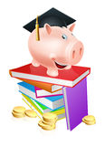 Education provision concept. An education provision financial concept of a piggy bank in a mortar board academic cap standing on a stack of books with gold coins Stock Image