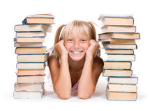 Education.Pupil met boeken Stock Foto