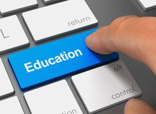 Education pushing keyboard with finger 3d illustration royalty free stock photography