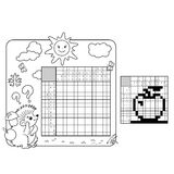 Education Puzzle Game for school Children.  Apple. Black and white japanese crossword with answer. Royalty Free Stock Photo