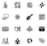 Education or quiz subject icons. Covering math, sports, music, science, history and lots more Royalty Free Stock Photography