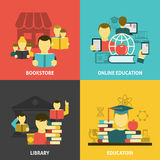 Education reading flat icons square banner Stock Images