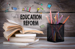 Education Reform, Business Concept. Stack of books and pencils on the wooden table. Royalty Free Stock Image