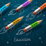 Education. Rocket ship launch with pencils - royalty free illustration