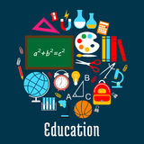 Education round symbol made up of school supplies Stock Image
