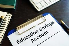 Education savings account ESA form. Stock Photos