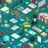 Education School Background Pattern Isometric View. Vector Stock Photography