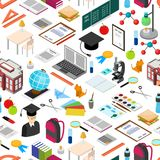 Education School Background Pattern Isometric View. Vector Stock Photos