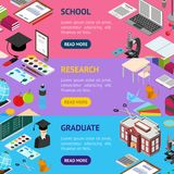 Education School Banner Horizontal Set Isometric View. Vector Stock Image