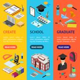 Education School Banner Vecrtical Set Isometric View. Vector Stock Photos