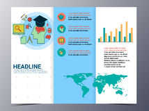 Education and school brochure design template vector flyer. Education and school pattern brochure design template vector tri-fold for use as  poster,flyer Stock Image
