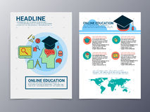 Education and school brochure design template vector flyer. Education and school pattern brochure design template vector tri-fold for use as  poster,flyer Stock Photo