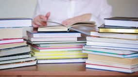 Education school concept. Closeup female girl in college library with books stock video footage