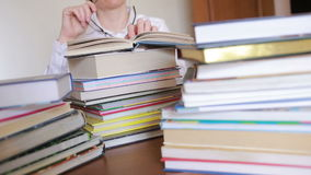 Education school concept. Closeup female girl in college library with books stock video