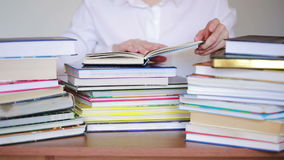 Education school concept. Closeup female girl in college library with books stock footage
