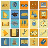 Education School Flat Icon Set Stock Image