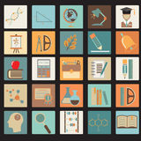 Education School Flat Icon Set Stock Images