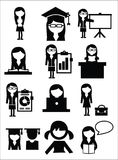 Education school girl icons Royalty Free Stock Photos